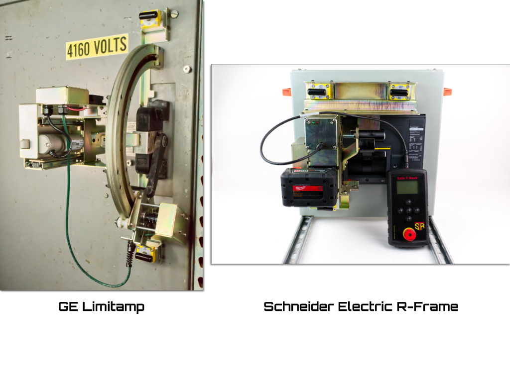 The two brackets mentioned in the the text: the General Electric Limitamp, and the Schneider Electric R-Frame breaker.